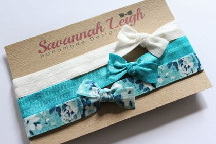 Teal, white, and floral print bow knot baby headbands set of three