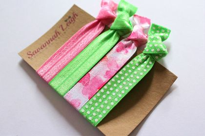 Pink and green set of four knotted hair ties