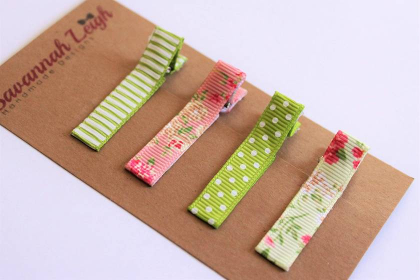 Green and pink set of 4 hairclips