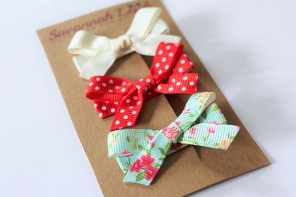 Red mint and cream set of 3 bow hair clips