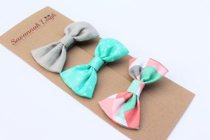 Turqouise peach and grey set of 3 fabric bows