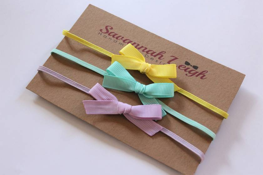Yellow, turquoise, and lavender skinny bow headbands set of three