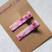 Pink floral print hair clips