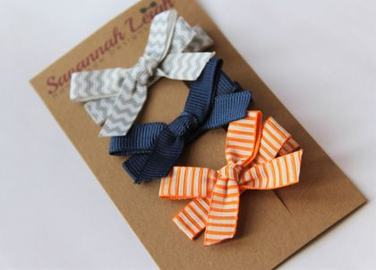 Navy, orange, and grey set of 3 bow hair clips