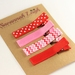 Red white and pink set of 4 hairclips