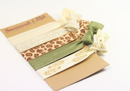 Ivory khaki leopard print and gold feather print neutral knotted hair ties