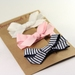 Navy pink and white set of 3 bows