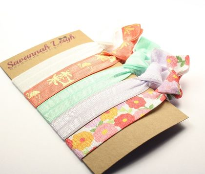 Turquoise lilac and tangerine floral knotted hair ties