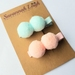 Pastel pink and blue pompom hair clips set of