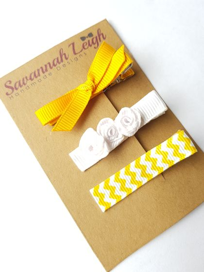 Sunshine yellow set of 3 bow hair clips skinny bow white rose chevron print