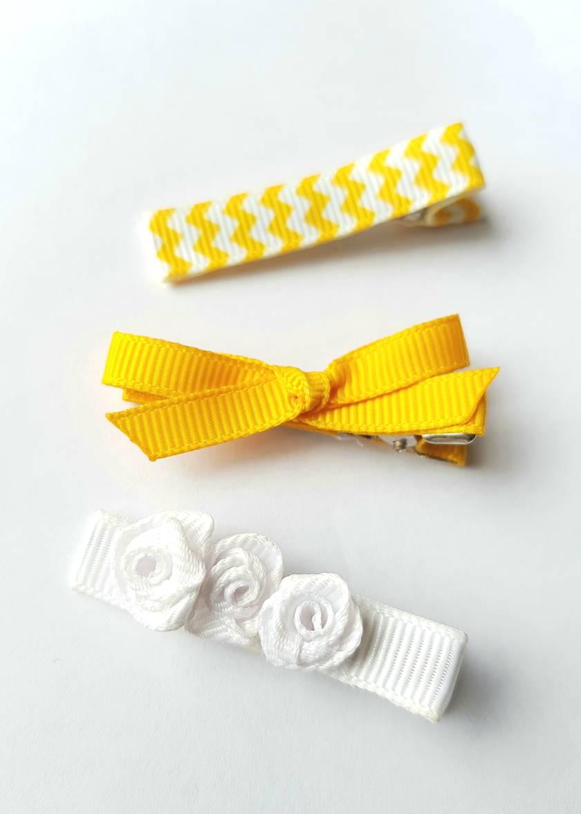 Sunshine yellow set of 3 bow hair clips skinny bow white rose chevron print
