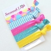 Bright pink blue yellow set of 5 knotted hair ties