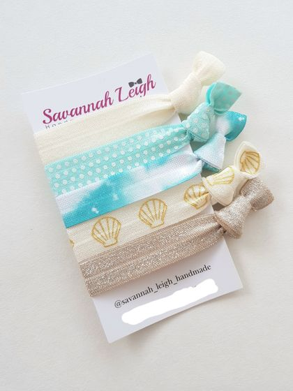Turquoise blue beige seaside beachy glitter girls teenagers knotted hair ties