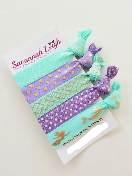 Turquoise purple gold mermaid print girls knotted hair ties
