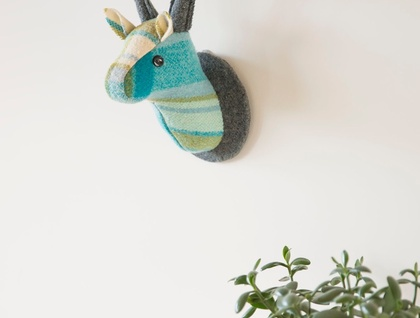 Stag Head Wall Hanging, Simon's Blue