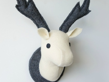 Vice & Versa, a Pair of Stags Wall Hangings. Ivory and Grey.