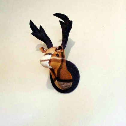 Fabric Stag Head Wall Mounted Hanging, Fake Taxidermy, Gingersnap, brown, cream and ginger