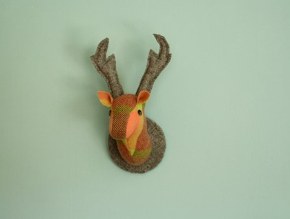 Stag Wall Mounted Hanging, Faux Taxidermy, Melon.