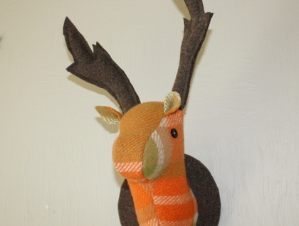 Stag Wall Mounted Hanging, Faux Taxidermy, Carrot.