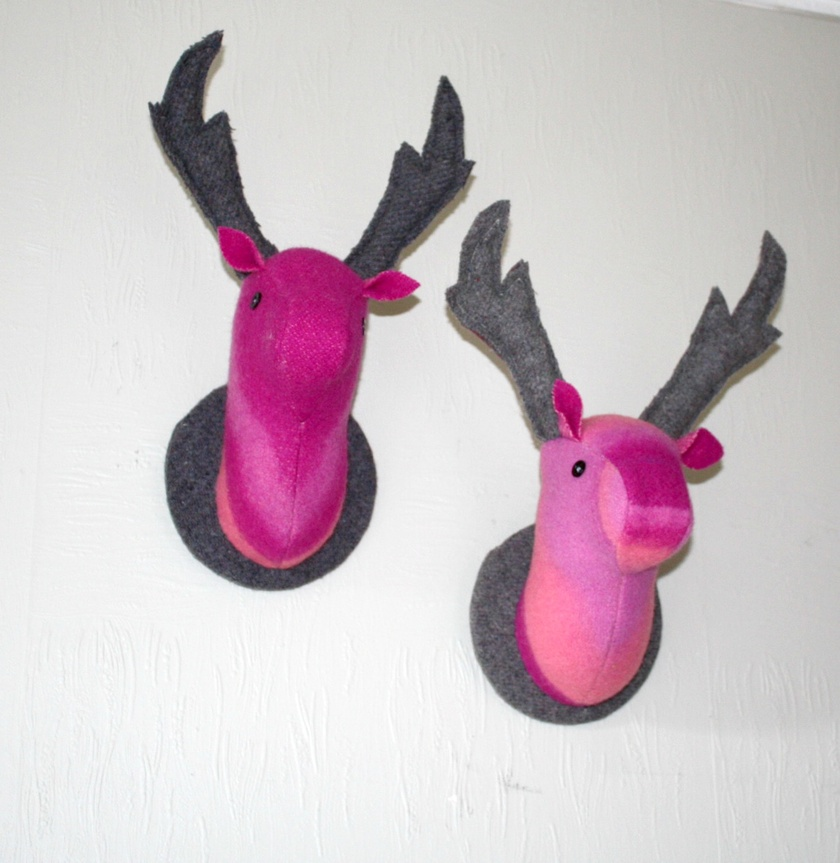 Mounted Stag Wall  Hanging, Fabric Taxidermy, Pink Sky