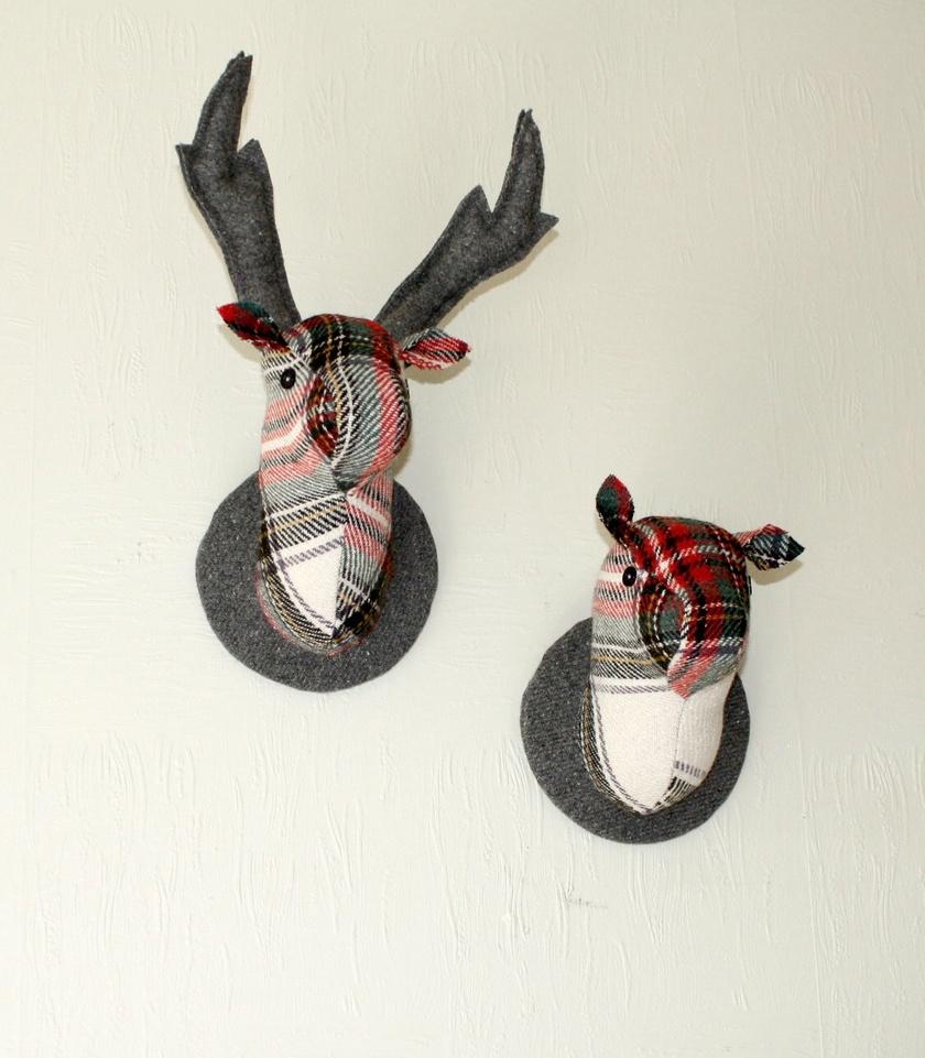 Stag and Doe Head  Wall Hangings, Mr & Mrs Porridge.