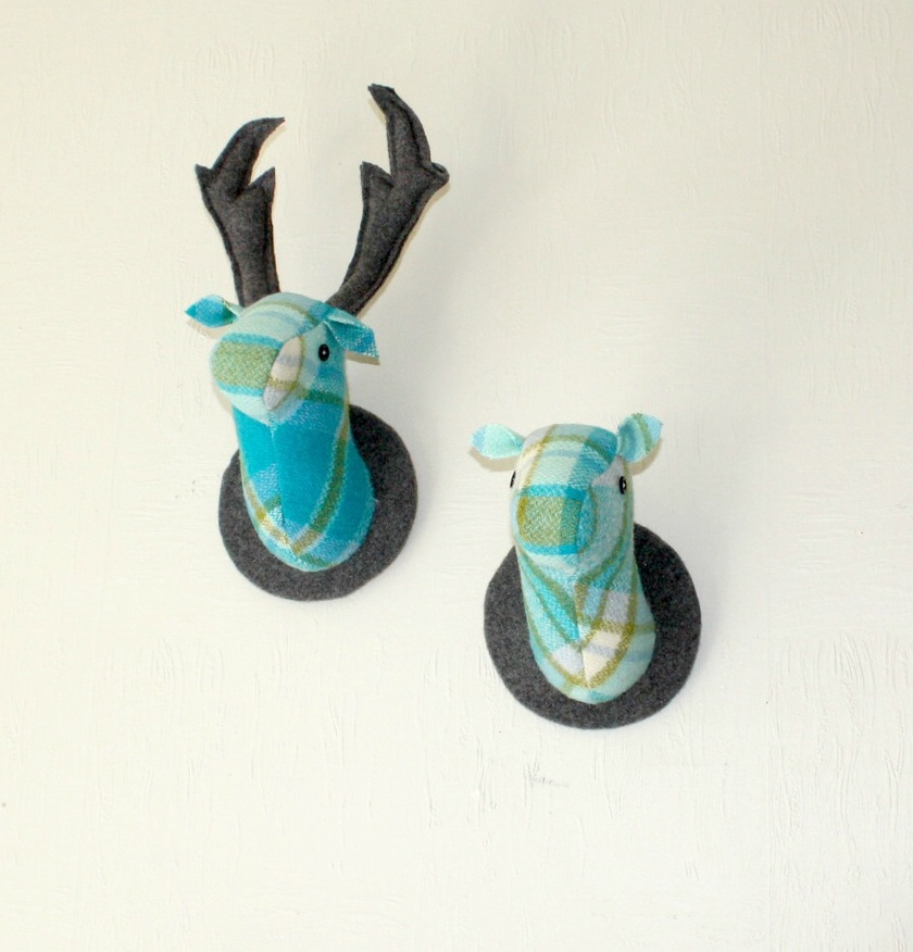 Stag and Doe Head  Wall Hangings, Mr & Mrs Simon's Blue.
