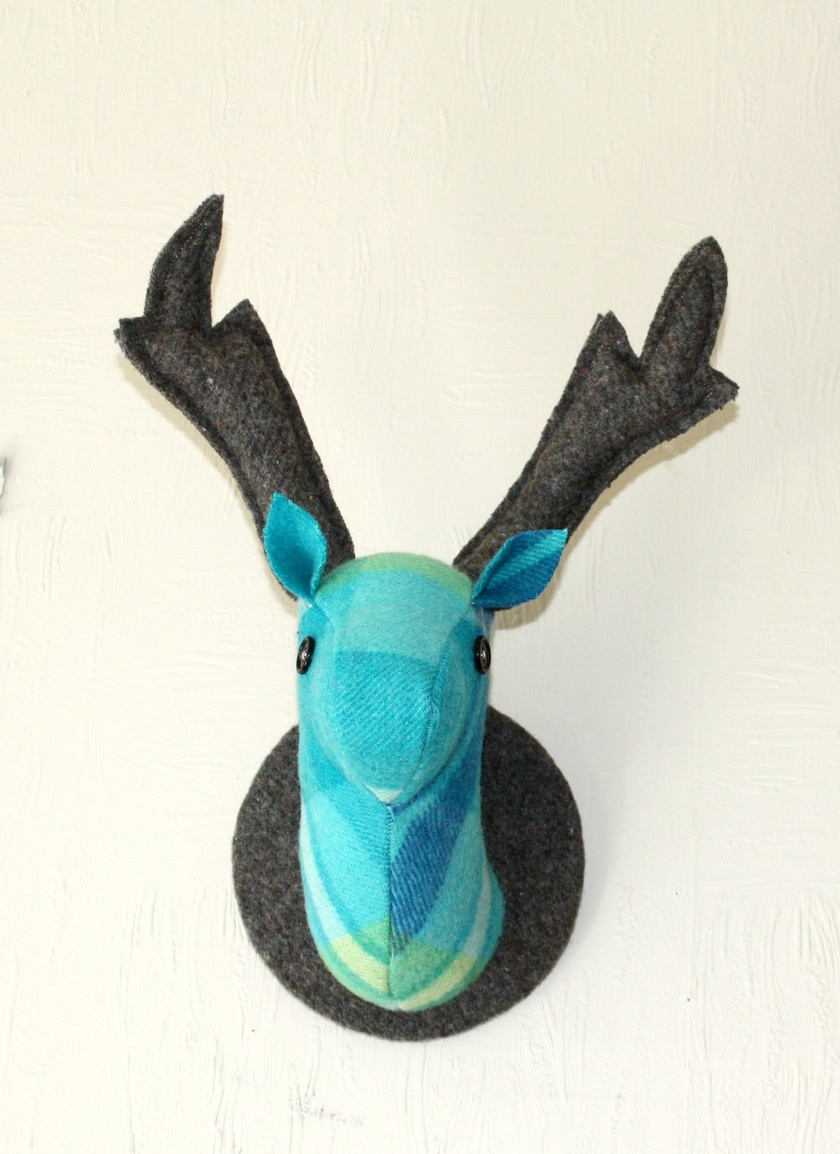 Stag Head Wall Hanging, Half Blue