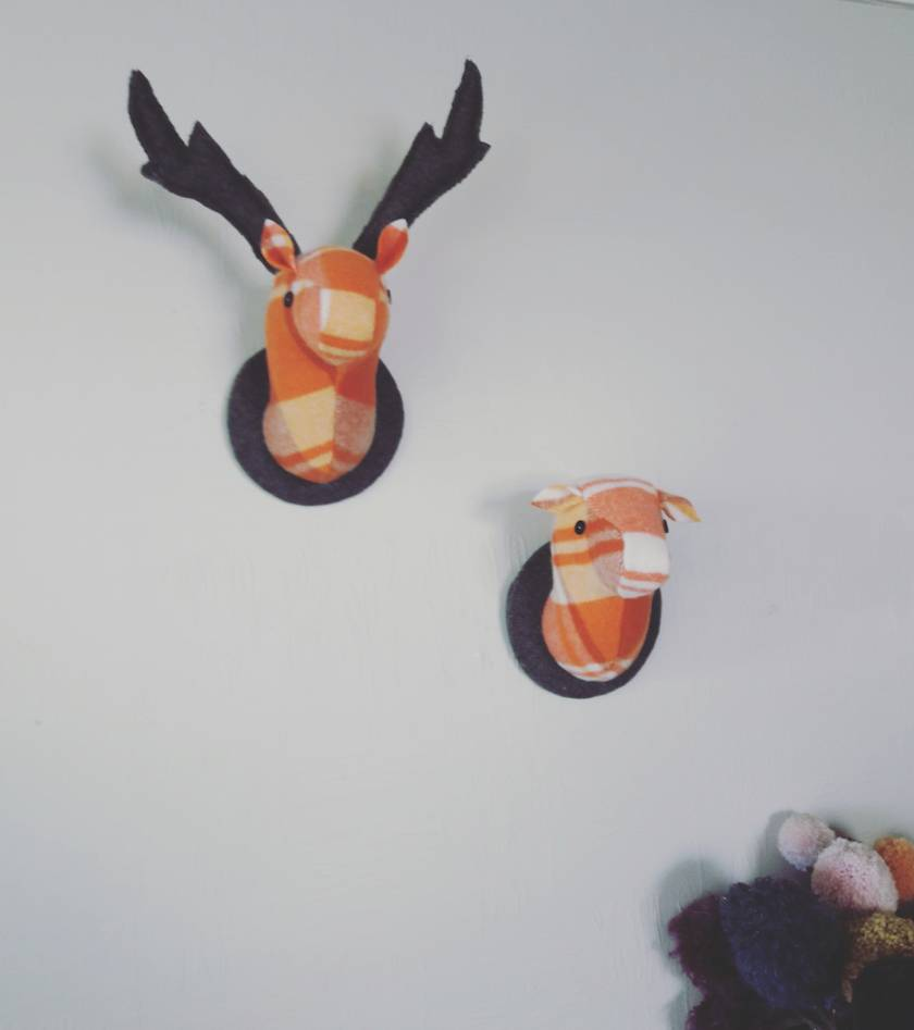 Stag and Doe Head  Wall Hangings, Mr & Mrs Pumpkin Pie.