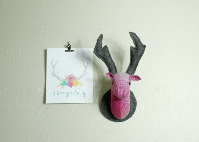 Stag and Doe Head  Wall Hangings, Mr & Mrs Dearly Pink.