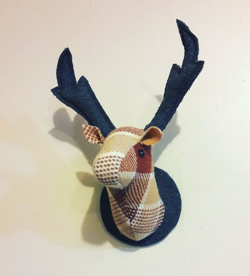 Fabric Stag Head Wall Mounted Hanging, Fudge