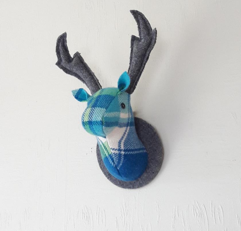 Deer Head Wallhanging, Bluegreen