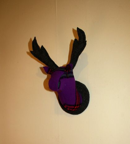 Fabric Stag Head Wall Mounted Hanging, Lavender