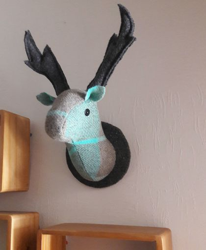 Fabric Stag Head Wall Mounted Hanging, Teal