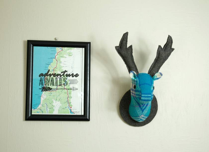 Stag Head Wall Hanging, Blue/ Turq