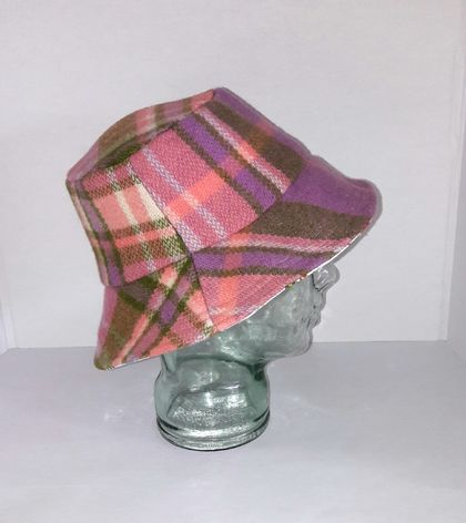 Blanket Bucket Hat. Pink & Purple  Small