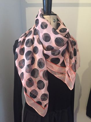 Silk Scarf - 'Spots' - Blush