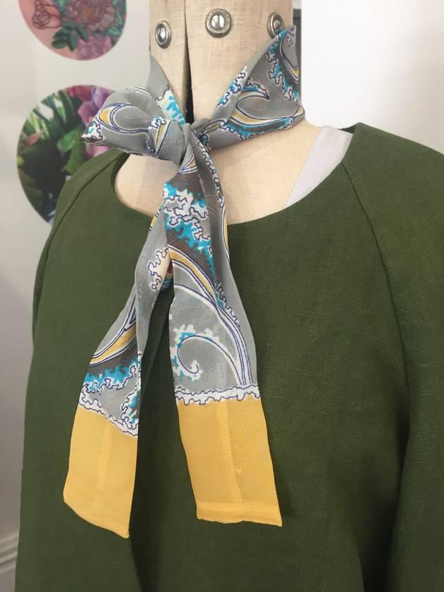 Skinny Silk - head or neck tie - 'Waves'