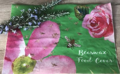 Large Beeswax and Cotton Watercolour inspired Food Cover - green