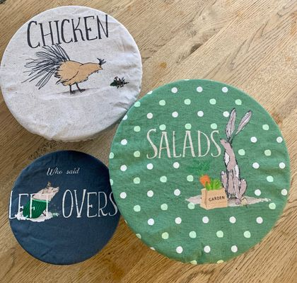 Mixed Set of Three Labelled Food Covers