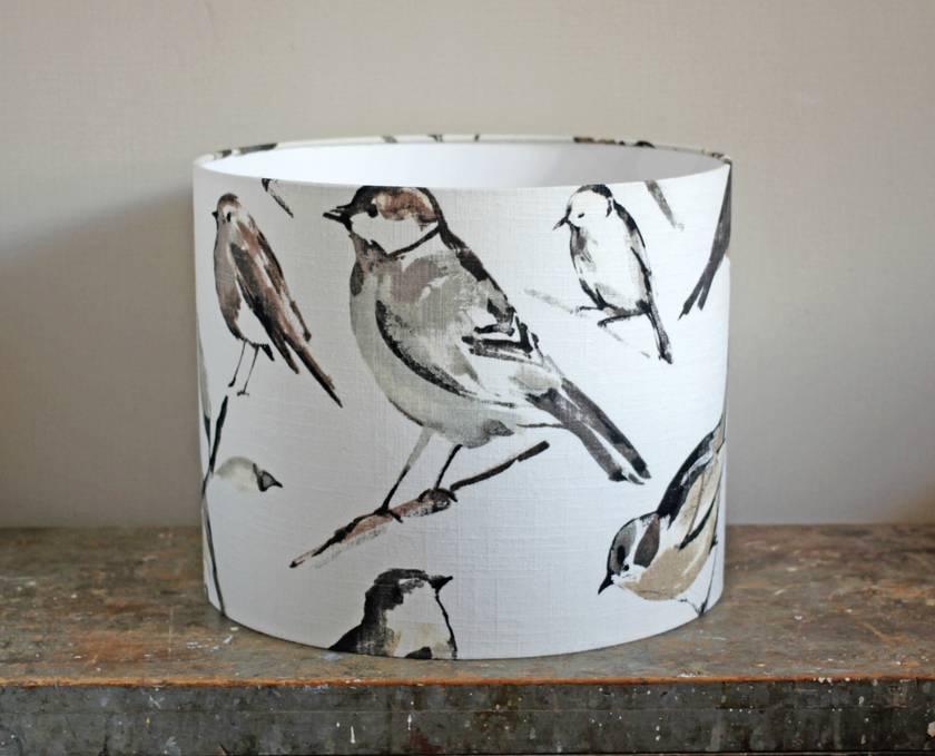 Bird Print Linen Lampshade Felt