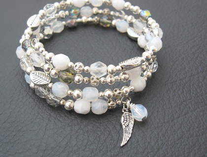 Frost bracelet: sparkling Czech glass and metals in silver and white, wrap bracelet