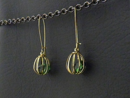 Captive Jewel earrings: vintage green Swarovski crystals in gilt cages – last pair