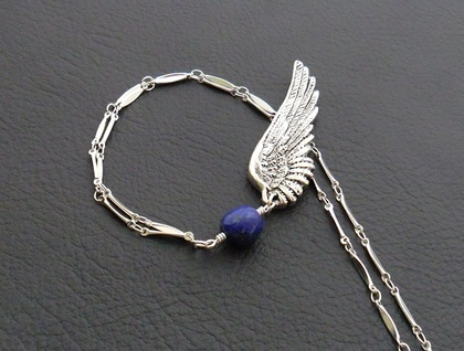 Celestial Wing: antiqued-silver angel wing pendant with lapis lazuli – one of a kind necklace