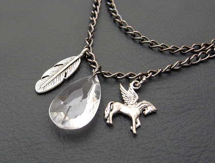 Pegasus' Feather: myth-inspired, two-strand charm necklace
