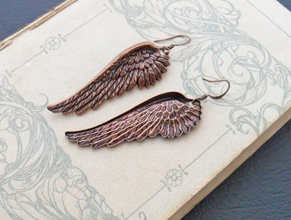 Rufous Wings: magnificent, antiqued copper wing earrings –one of a kind