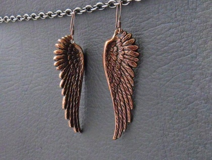 Rufous Wings: magnificent, antiqued copper wing earrings – one of a kind