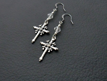 Silverwood Crosses: organically shaped, antiqued silver cross earrings with rhinestones – one of a kind