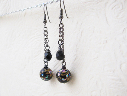 Black Tensha earrings: tensha beads and glittering Czech glass on gunmetal black chains