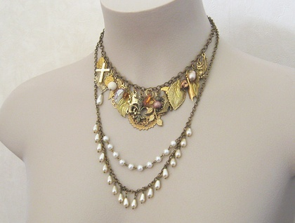 Rococo: a unique, one-of-a-kind charm statement necklace with vintage pearls, in gold, brass, purple and copper