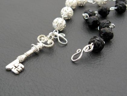Victorian Silver Key: black & silver charm bracelet